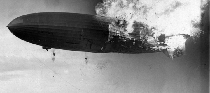 German zeppelin Hindenburg disaster (1937)