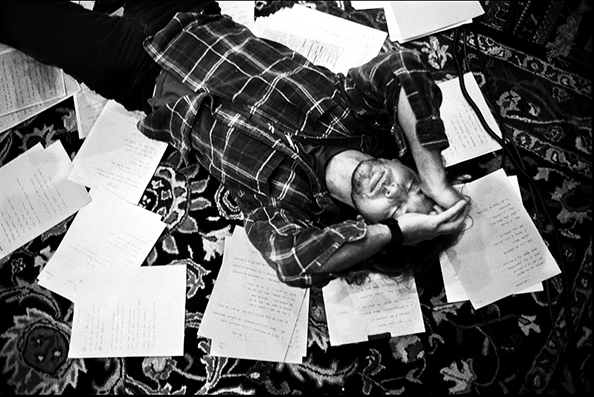 Danny Clinch Eddie Vedder (Laying on Floor with Lyrics), Seattle, WA, 2006