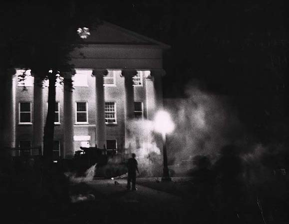 Flip Schulke Tear gas and tanks on the campus of the University of Mississippi, Oxford, Mississippi, 1962