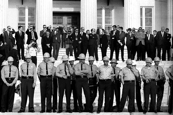 Stephen Somerstein State troopers arrayed on steps of Montgomery, Alabama State House. Officials on top steps, Selma to Montgomery, Alabama Civil Rights March, March 25, 1965