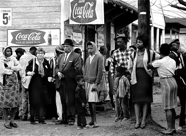 Stephen Somerstein People on street corner watching marchers, Selma to Montgomery, Alabama Civil Rights March; March 23-25, 1965