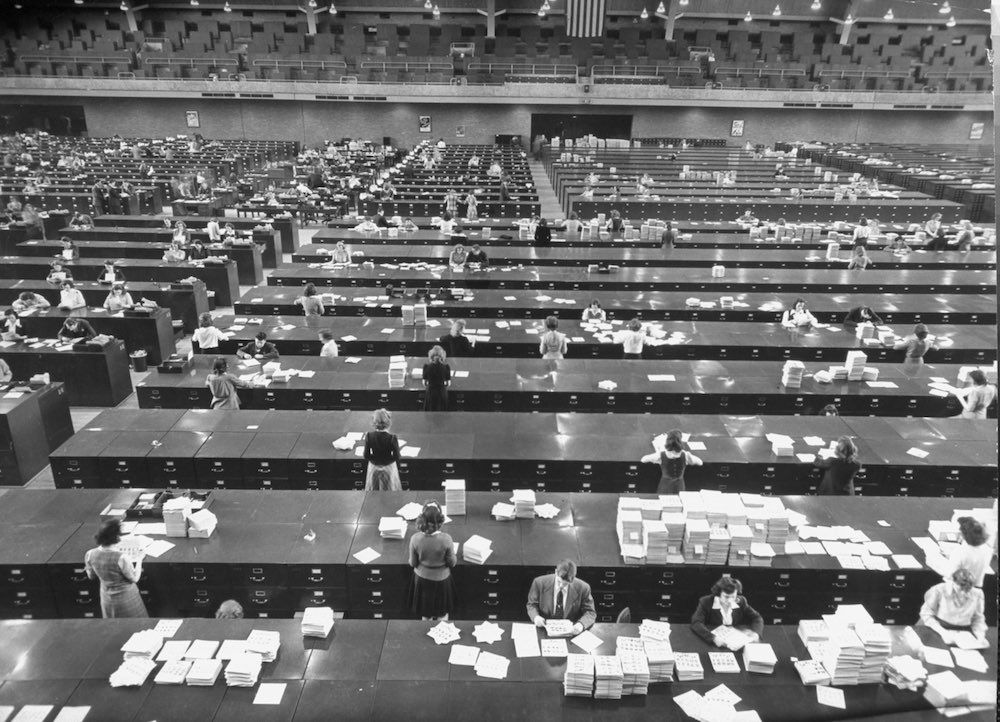 Overall view of large file room at FBI h