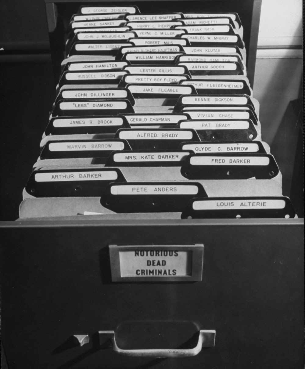Close-up of file drawer at FBI office.