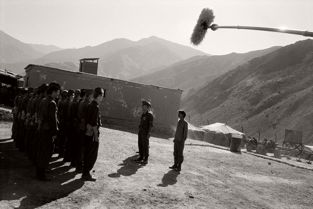 "AFGHANISTAN. Panjshir Valley. Dashtak Village. Soviet soldiers on the location of ""L'Etoile du Soldat"" directed by Christophe de PONFILLY. The set represents a Soviet army base in the 80's. 2005."