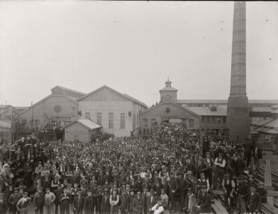 Vintage Glass Plate negatives of workers and the machinery they manufactured (1900s)
