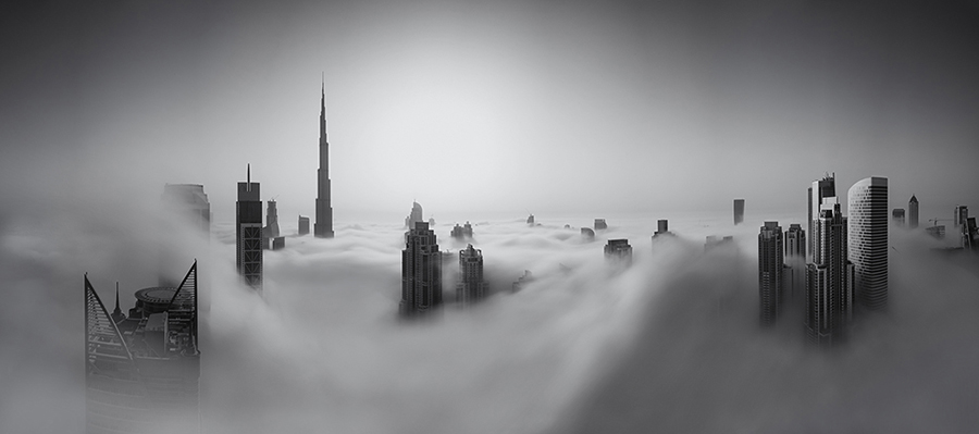Panorama of Downtown Dubai engulfed by the late morning fog.  119 Megapixels - 0.11 Gigapixels