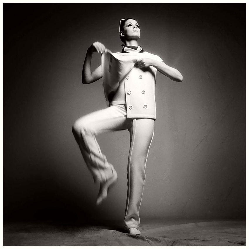 Melanie Hampshire in André Courrèges Ensemble, photographed by Melvin Sokolsky for Harper's Bazaar, 1965
