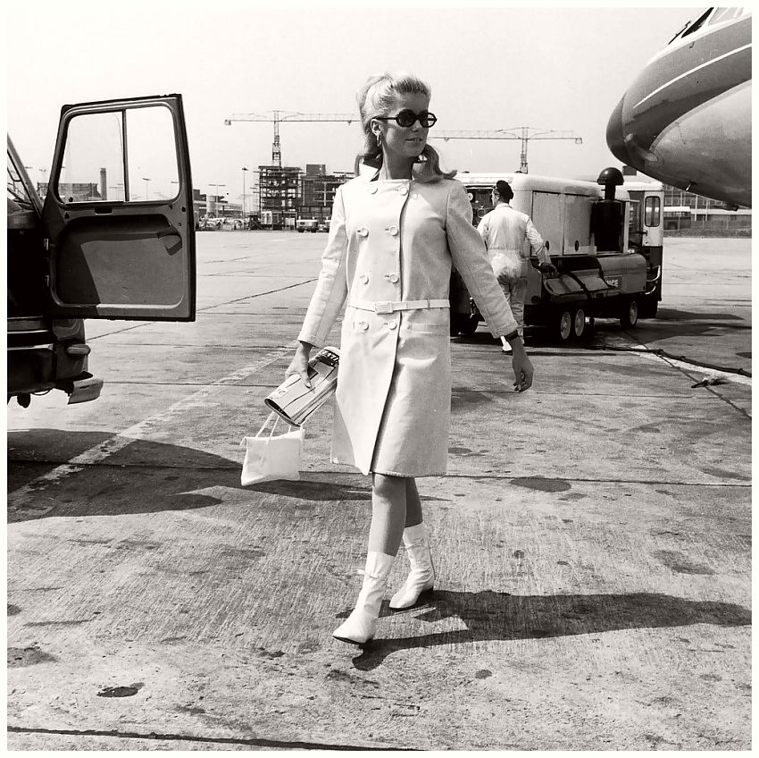 Catherine Deneuve in André Courrèges Boots and Coat, 1965