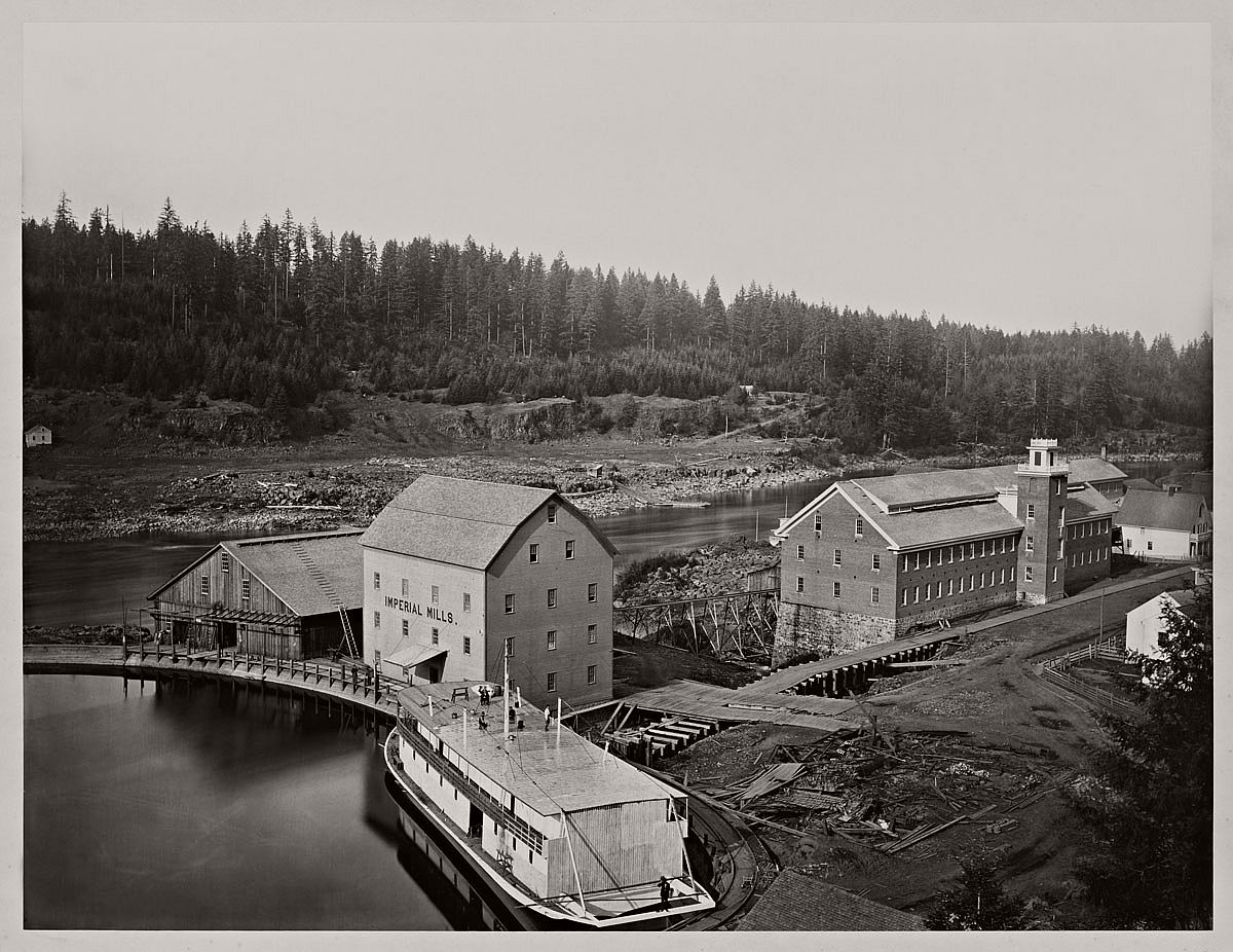 Carleton Watkins (U.S.A., 1829-1916) Flour and Woolen Mills, Oregon City 1867