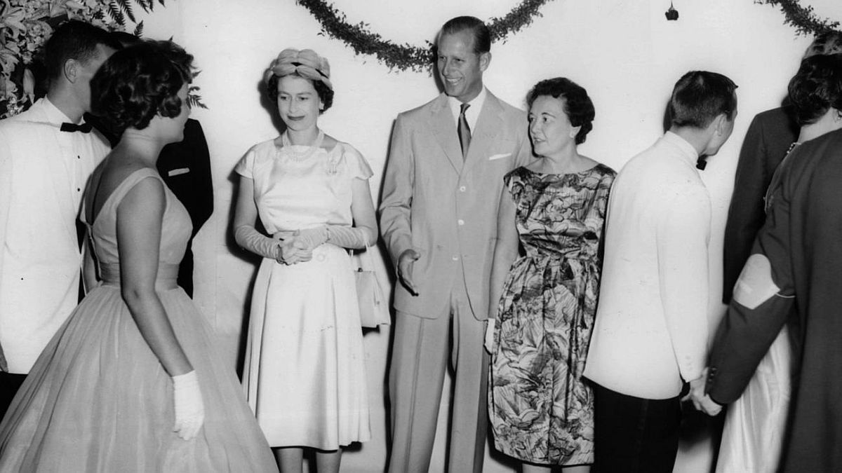 "Chicago Tribune historical photo Queen Elizabeth II, from left, Prince Philip and Chicago's first lady Eleanor ""Sis"" Daley greet visitors at a reception at the Drake Hotel on July 7, 1959."