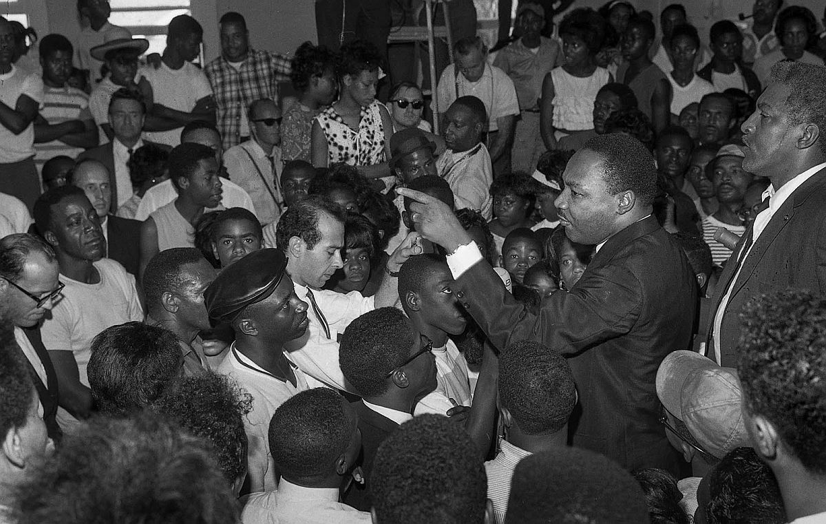 Aug. 18, 1965: Dr. Martin Luther King during talk at Westminster Neighborhood Assn. meeting regarding the Watts Riots.