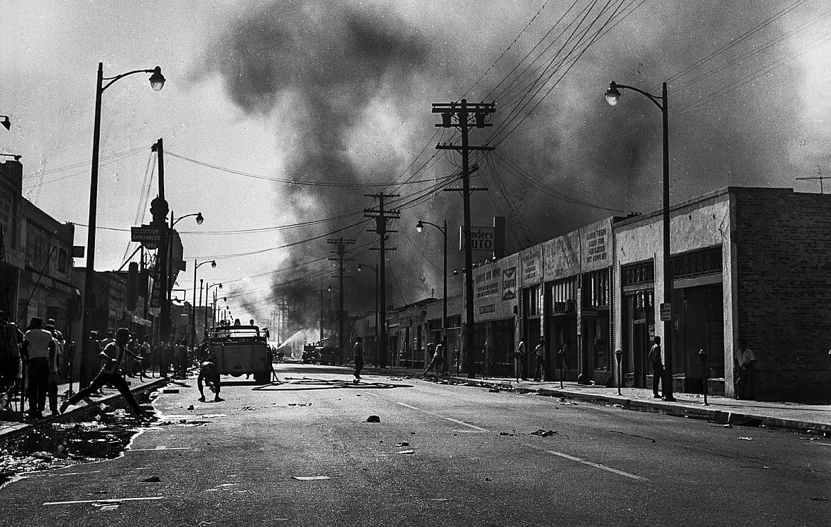 Aug. 13, 1965: Smoke rises from buildings on 103rd St. looking west from Wilmington Ave. during Watts Riots.