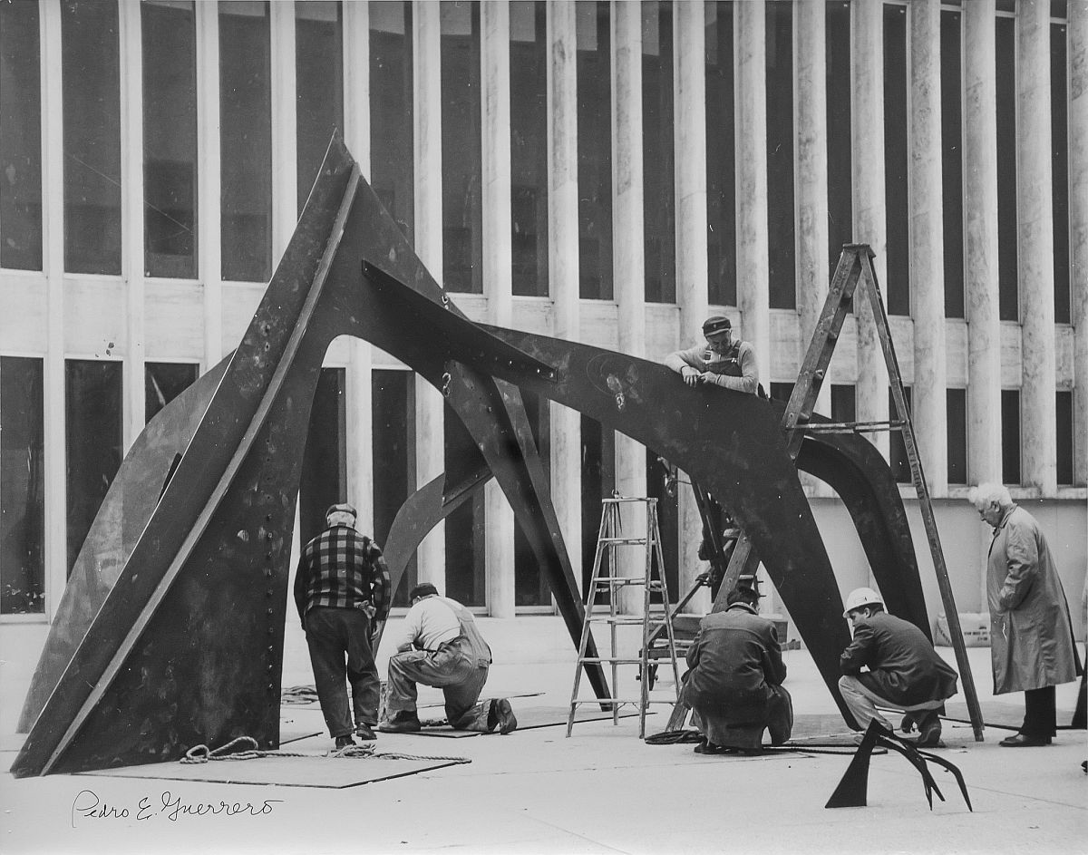 "Estate of Pedro E. Guerrero, Calder Installing ""Le Guichet"" at Lincoln Center, NY, 1965"