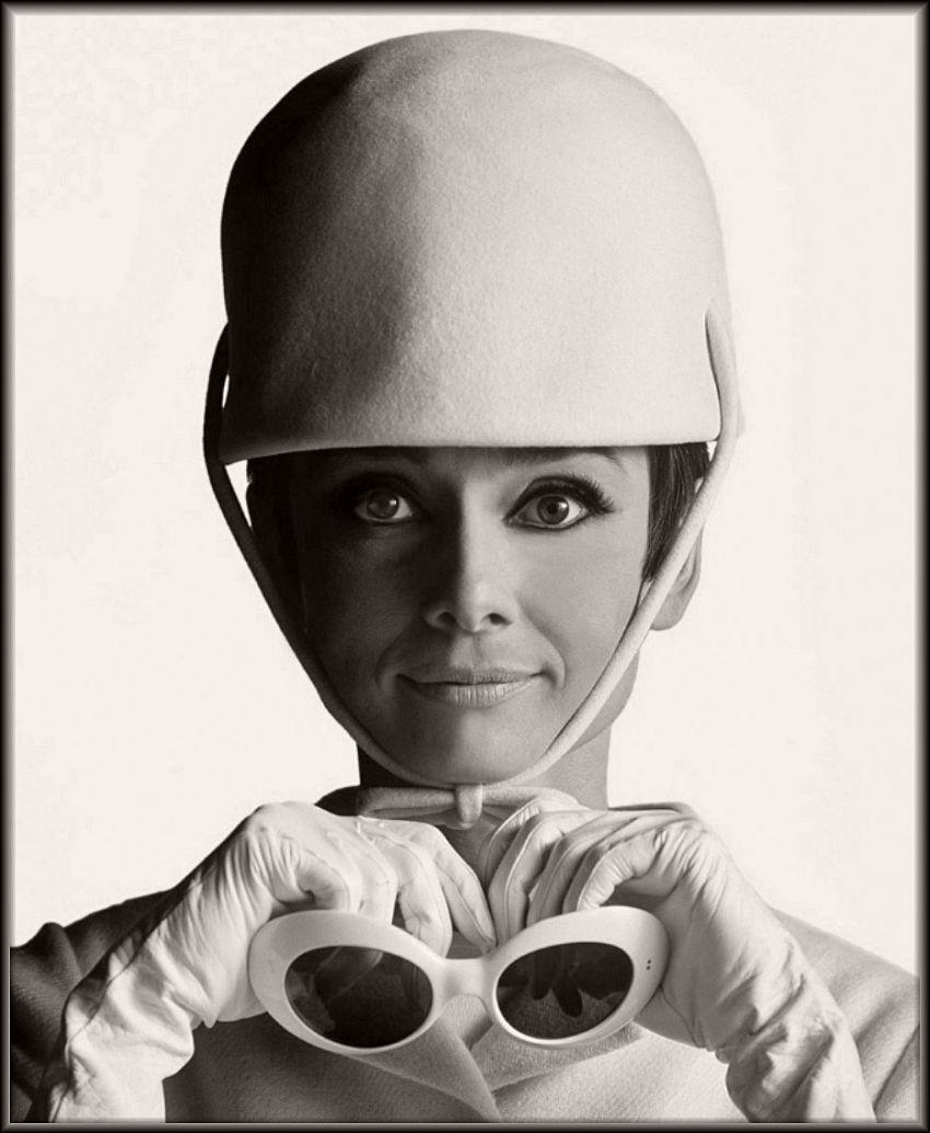 Audrey Hepburn in André Courrèges Hat, photographed by Douglas Kirkland, 1965