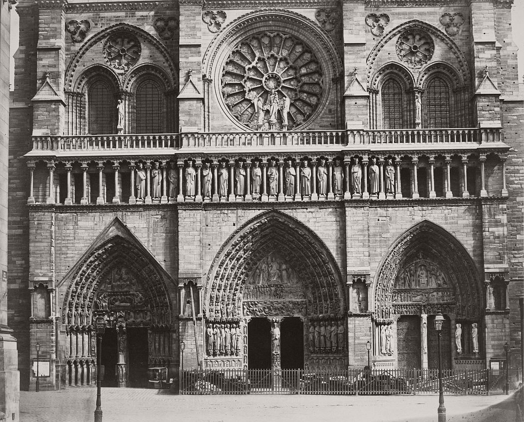 Louis-Auguste Bisson (French, 1814–1876) and Auguste Rosalie Bisson (French, 1826–1900). Cathedral of Notre Dame, Paris (Detail of Facade). c. 1853. Albumen silver print from a glass negative, 14 7/16 × 17 13/16″ (36.6 × 45.3 cm). The Museum of Modern Art, New York. Acquired through the generosity of Robert B. Menschel