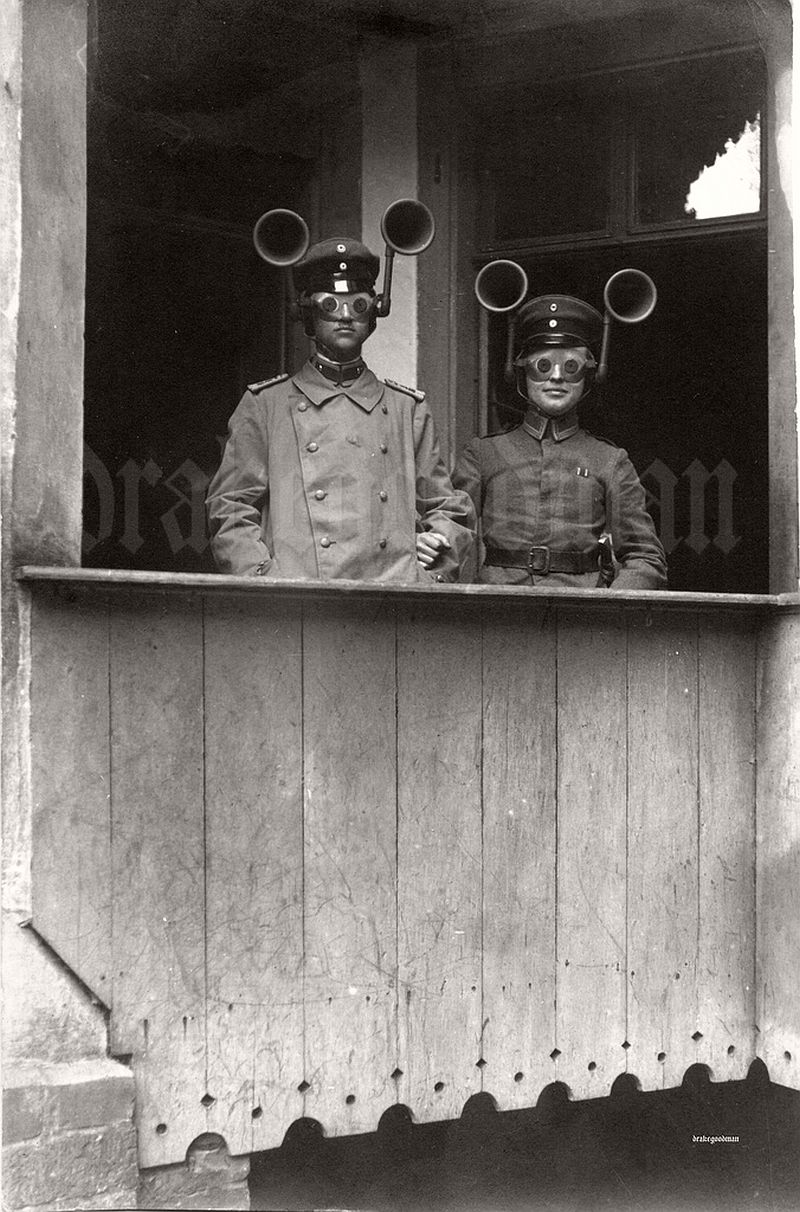 A junior officer and NCO from an unidentified Feldartillerie regiment wearing a portable sound locating apparatus, c. 1917