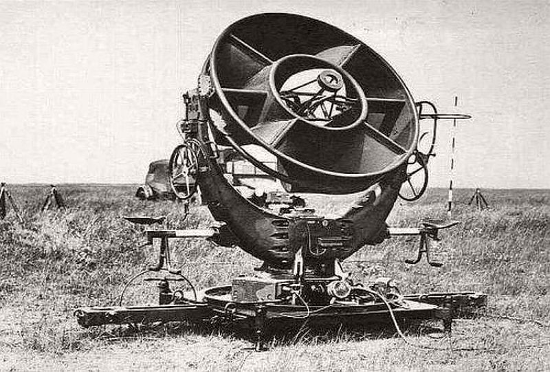 The German Ringtrichterrichtungshoerer (or RRH) acoustic locator, mainly used in World War II antiaircraft searchlight batteries for initial aiming of the searchlights at night targets.