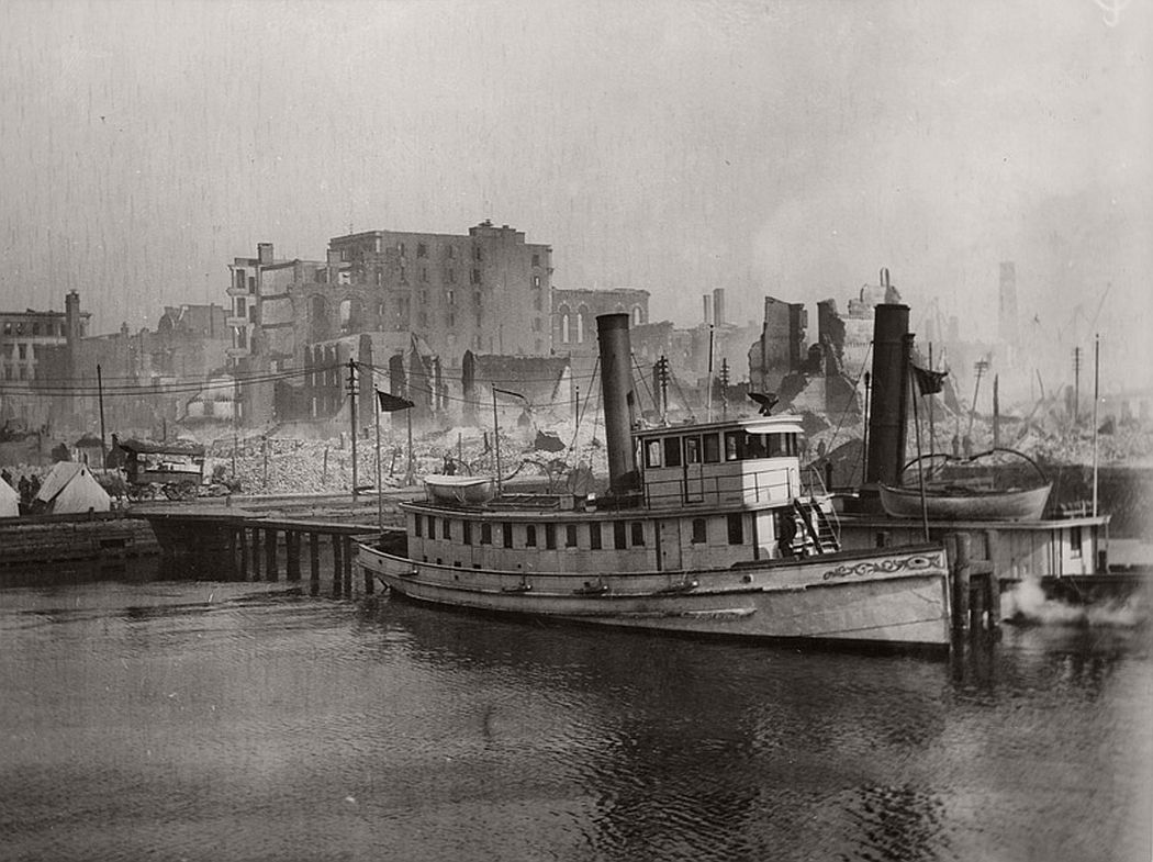 View from harbor of Pratt St. after 1904 fire