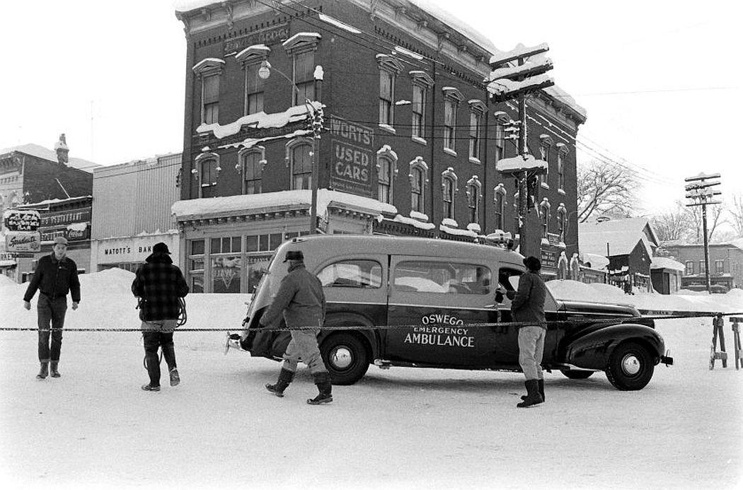 An ambulance in Oswego, New York, 1958.