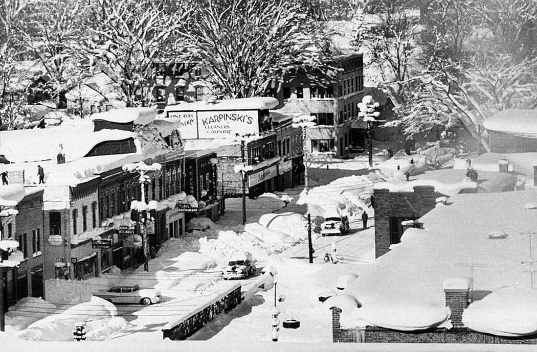 A view of Oswego from above, December 1958.