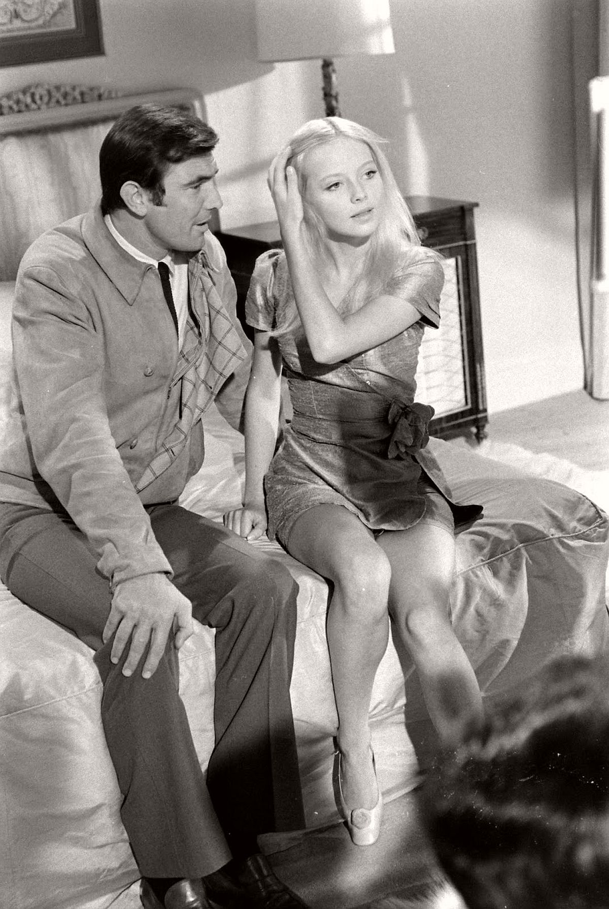 George Lazenby and Bond Girl hopeful Agneta Eckemyr, 1967.