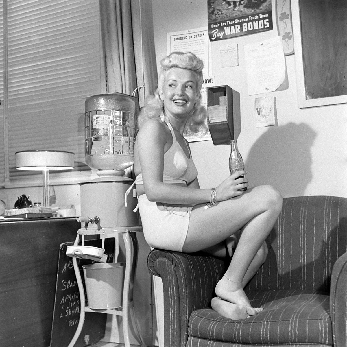 The legs relaxing. Betty is athletic, but she does not have to take special exercises or massages to keep her figure shaply.