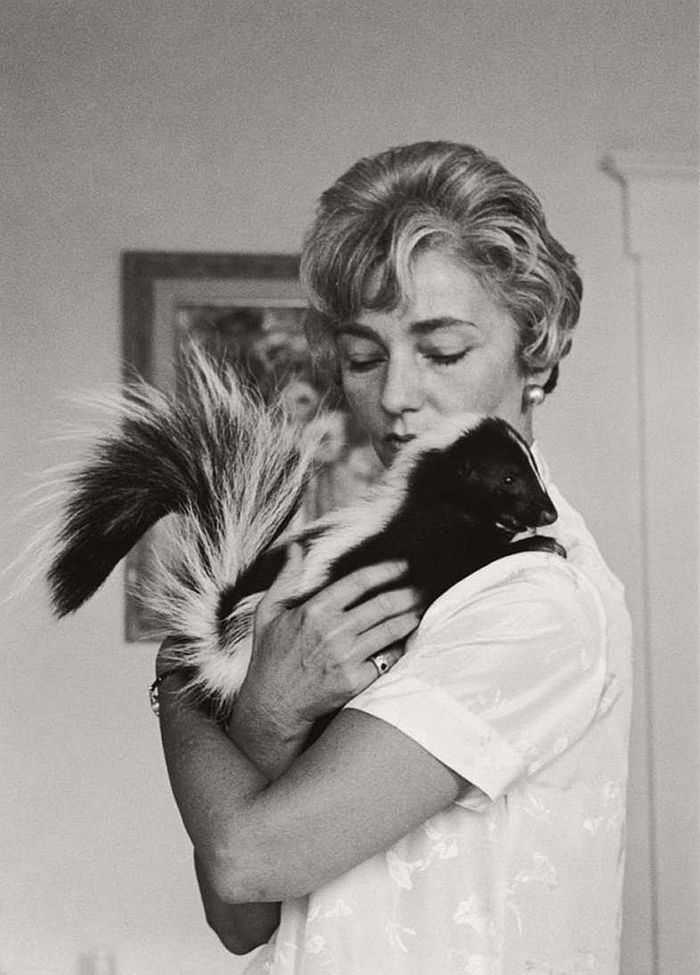 Betty Bowen with a skunk