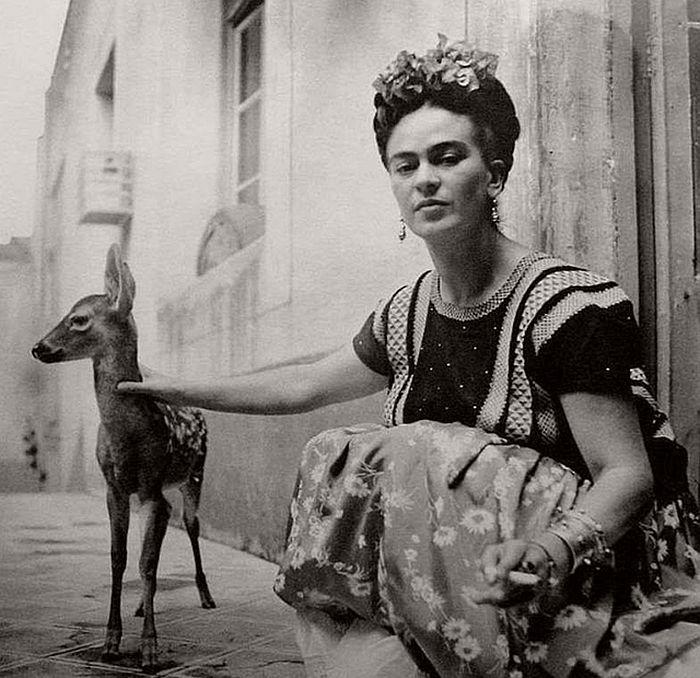 Frida Kahlo with deer Leopard