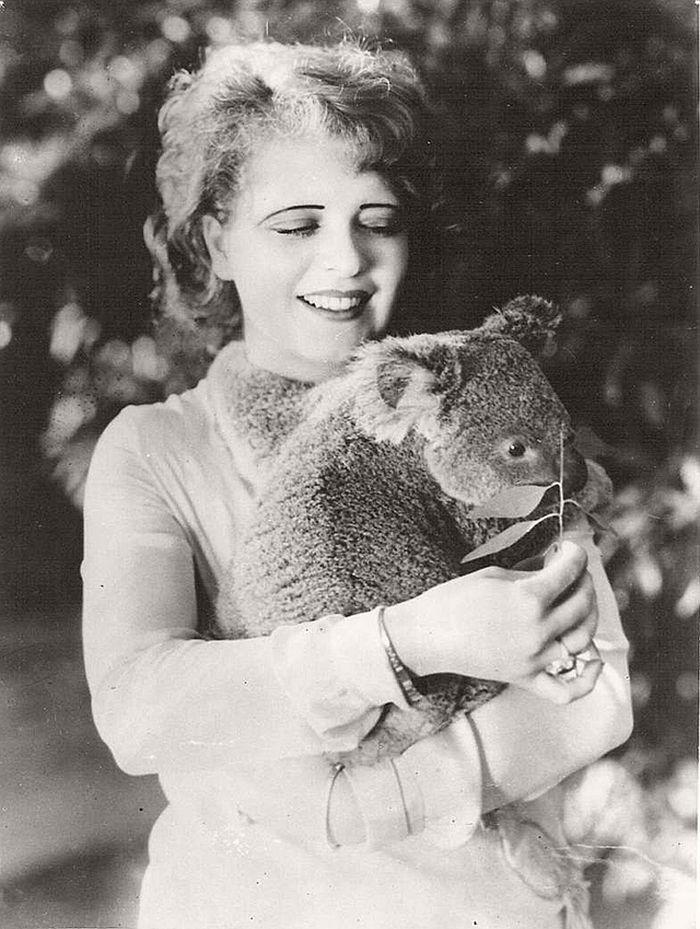 Clara Bow with a koala