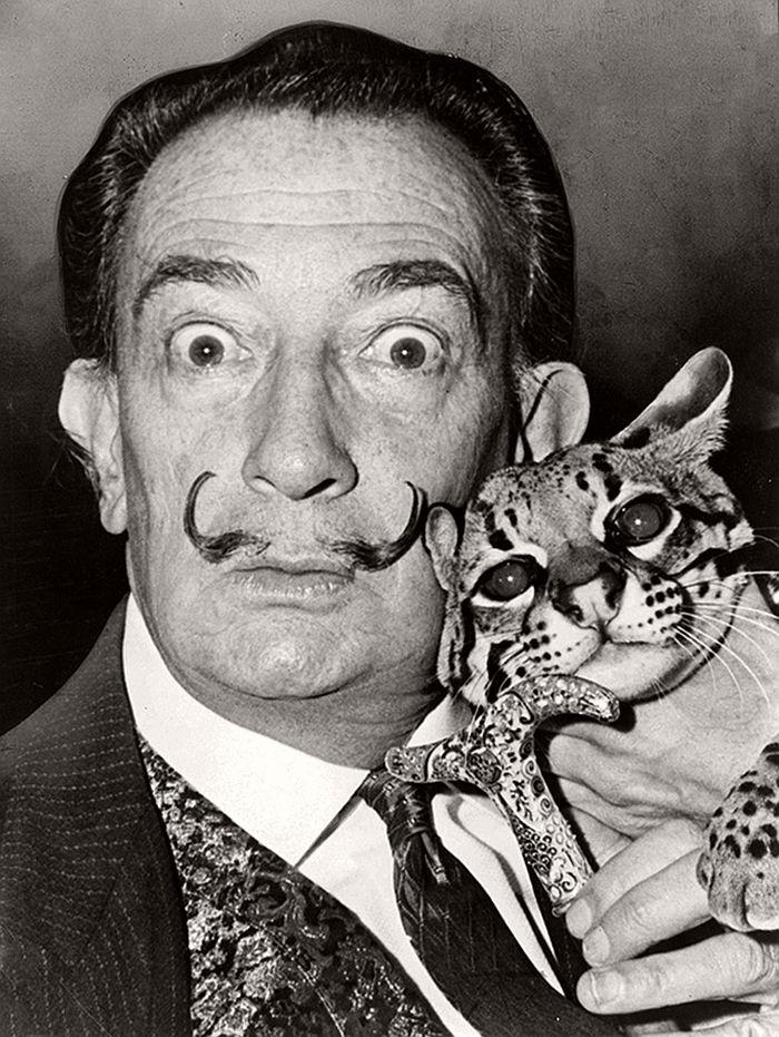 Salvador Dalí with an ocelot Babou