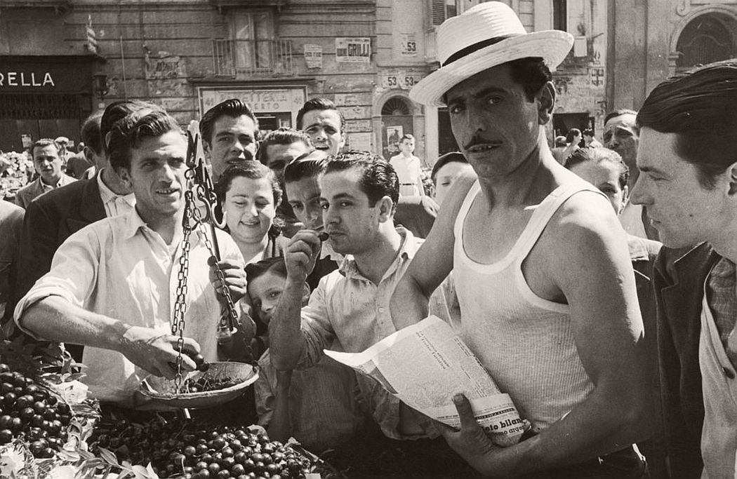 A man sells cherries from a market stall in Naples. Circa 1952. (Picture Post/Hulton Archive / Getty Images)