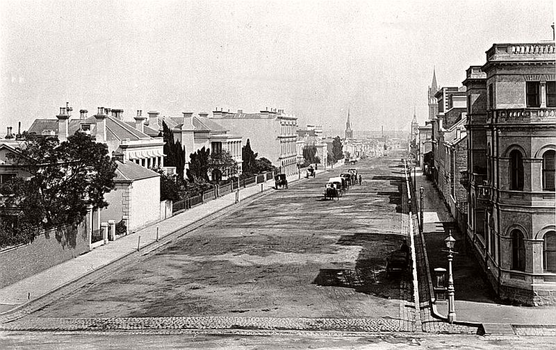 The eastern end of Collins Street from the Treasury Building, ca. 1880s