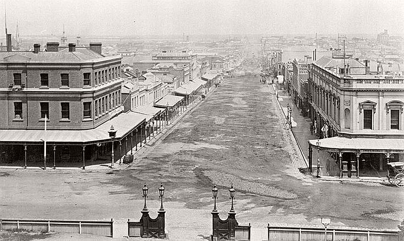 Bourke Street from Parliament House, 1885