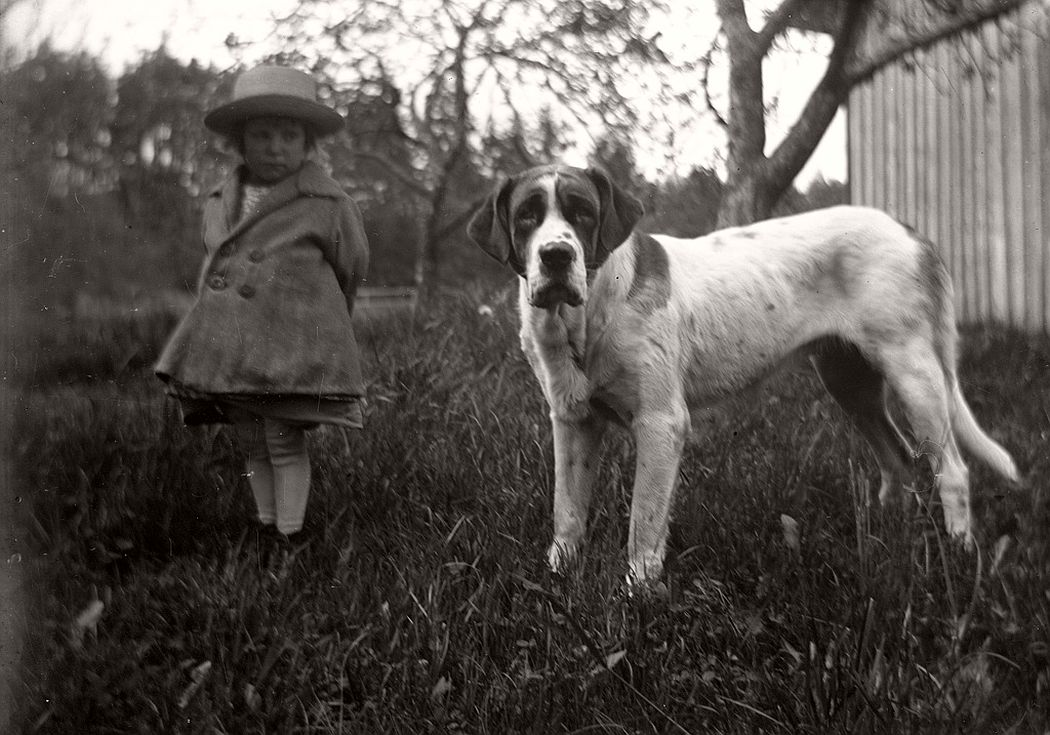 Kerstin and her dog, ca. 1928.