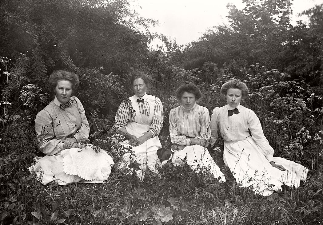 Four ladies in green grass from one of the manor houses of Vrångsjö or Hästeryd, ca. 1912.