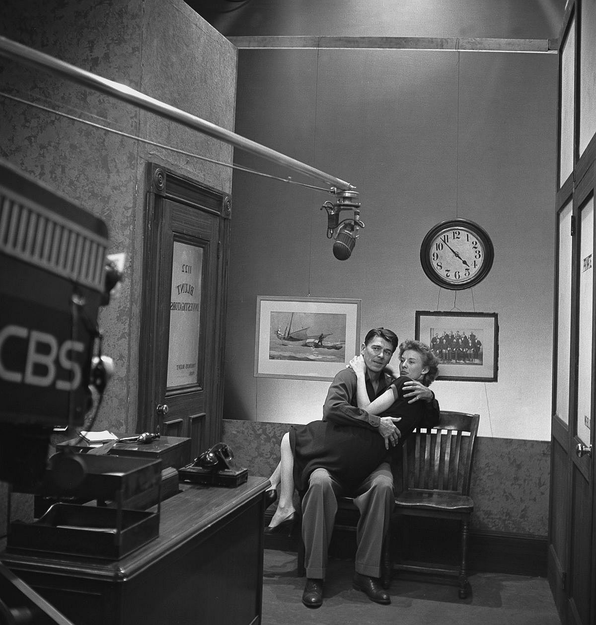 Dec. 7, 1950  Reagan performs with Cloris Leachman on an episode of Nash Airflyte Theater.  Image: CBS/Getty Images
