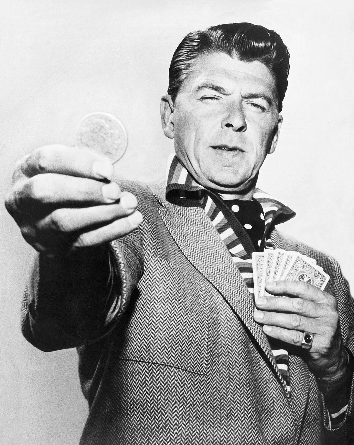 1958  Reagan performs in the General Electric Theater CBS teleplay The Lord's Dollar.  Image: Underwood Archives/Getty Images