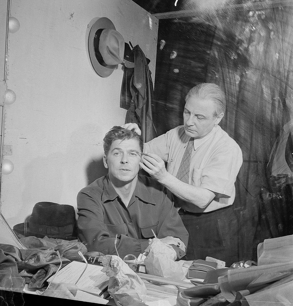 Dec. 7, 1950  Reagan gets made up for an appearance on an episode of Nash Airflyte Theatre.  Image: CBS/Getty Images