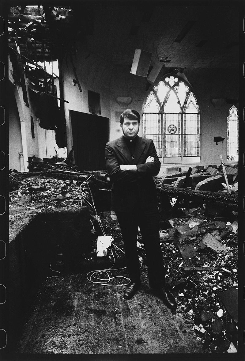 The Reverend Troy Perry, Gay Activist, In His Burnt Down Church, Los Angeles, 1973.