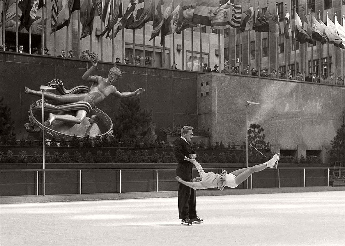 Professional skaters make a gutsy move in this shot, taken at the Rockefeller Center rink.