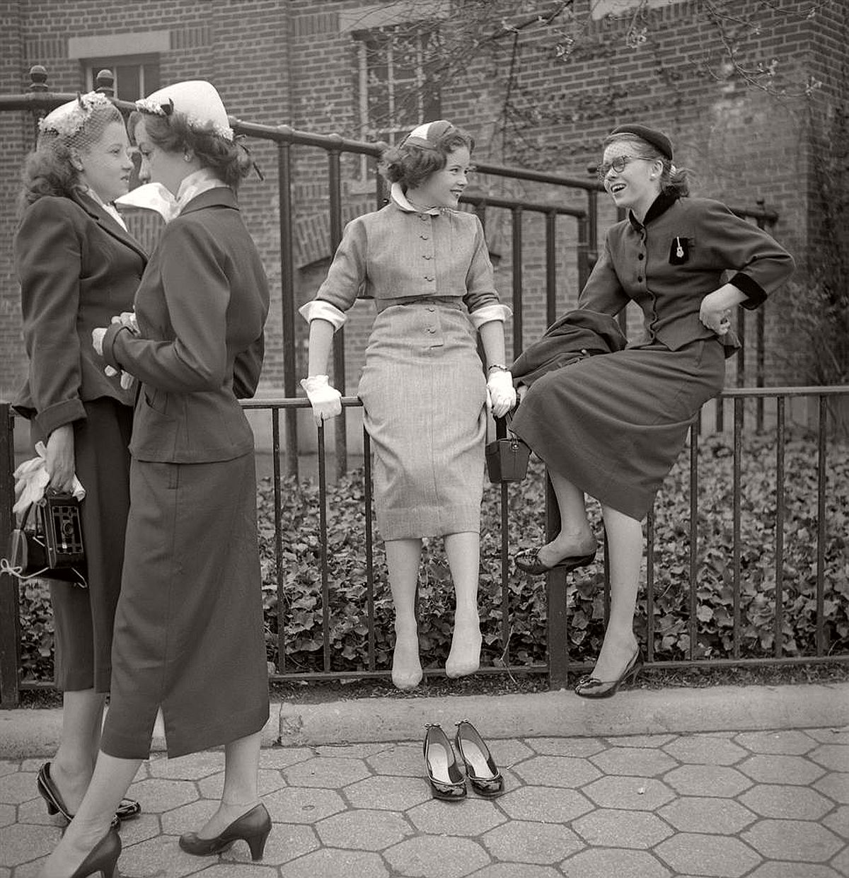 A candid moment of school girls in 1953.