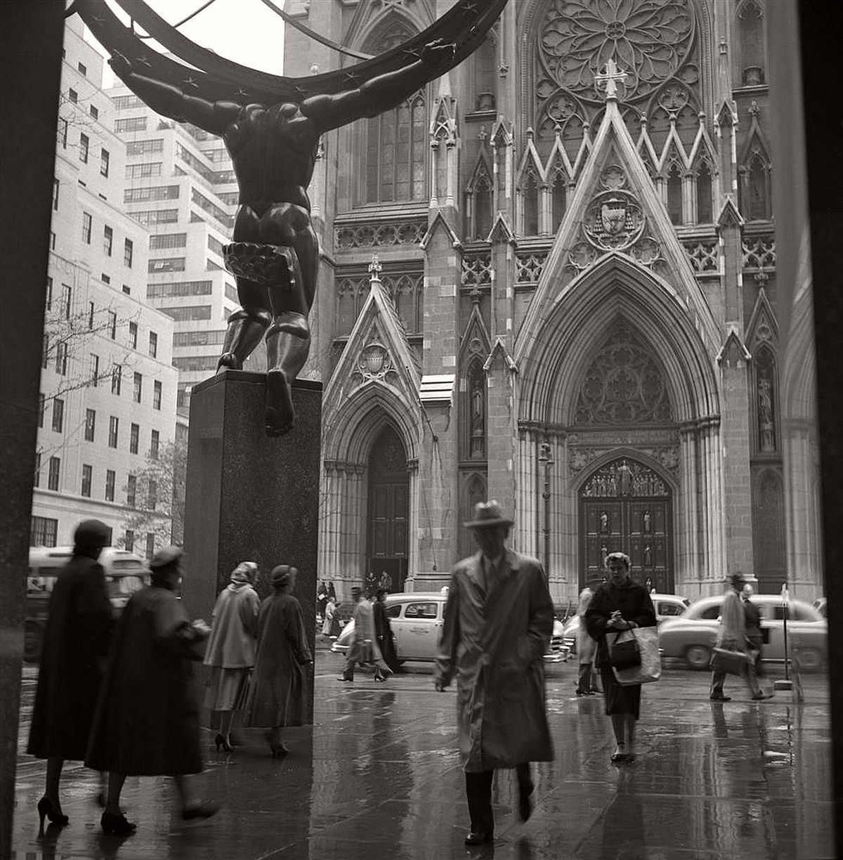 A rainy day across from St. Patrick's Cathedral.