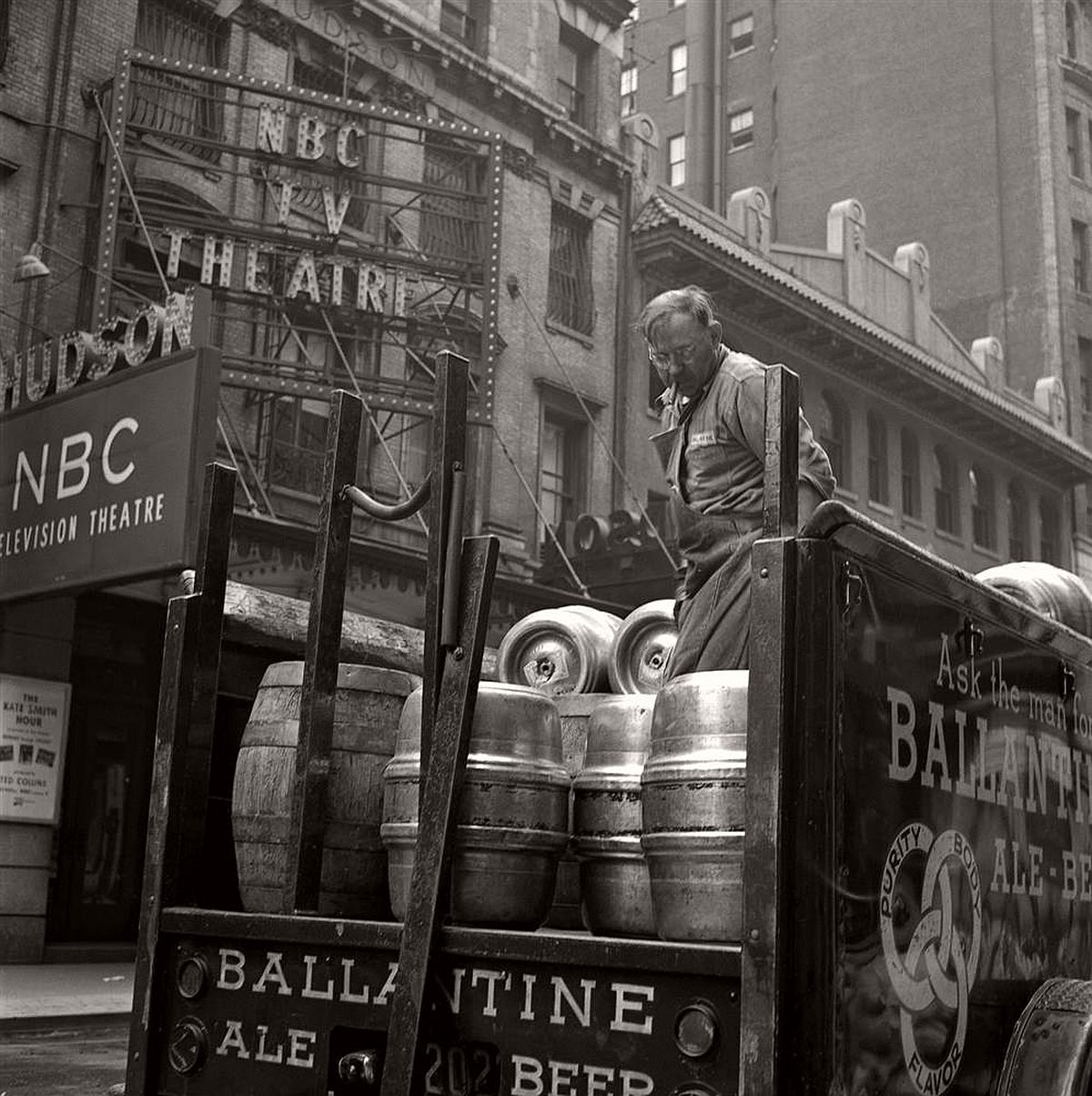 A Ballantine beer truck stops to make a delivery in front of the NBC Television Theatre.