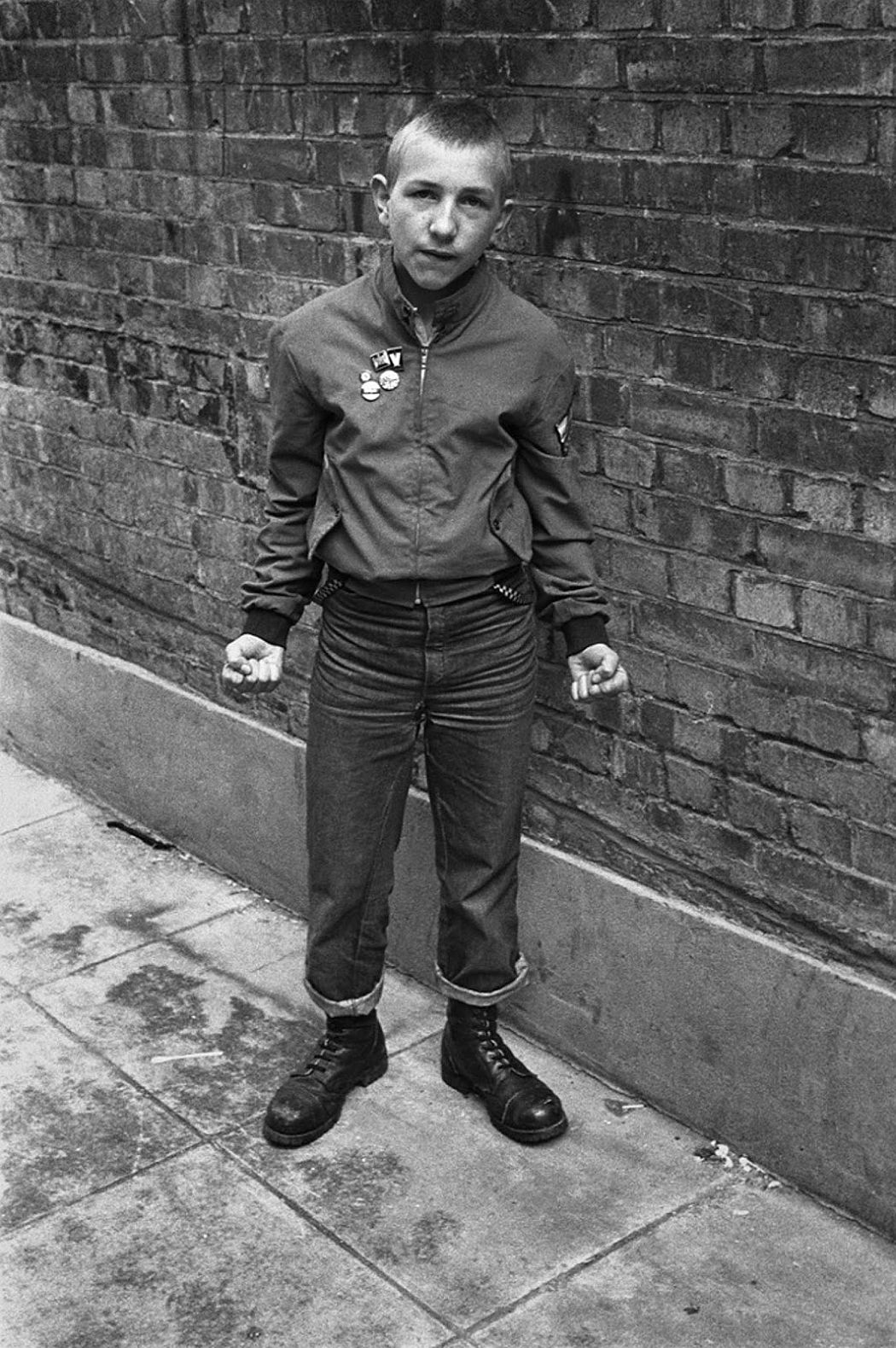 Young skinhead photographed close to Carnaby Street in 1980.