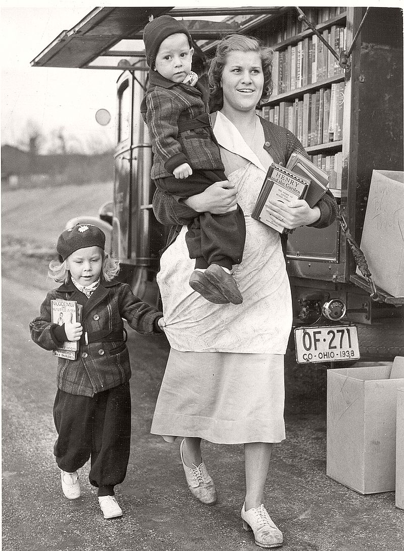 Taking the kids to the bookmobile in Columbia Park, 1940