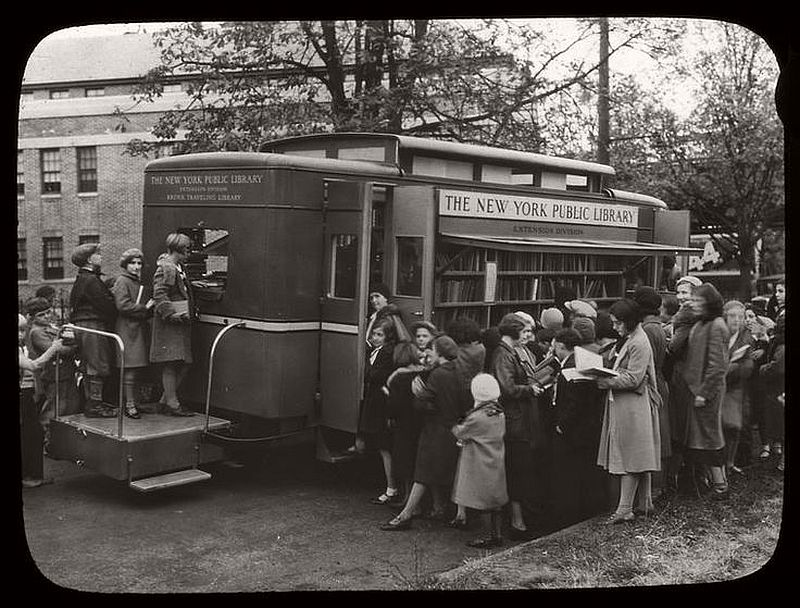 Children led astray by the Bronx Traveling Library, Westchester Square branch, New York, ca. 1930s