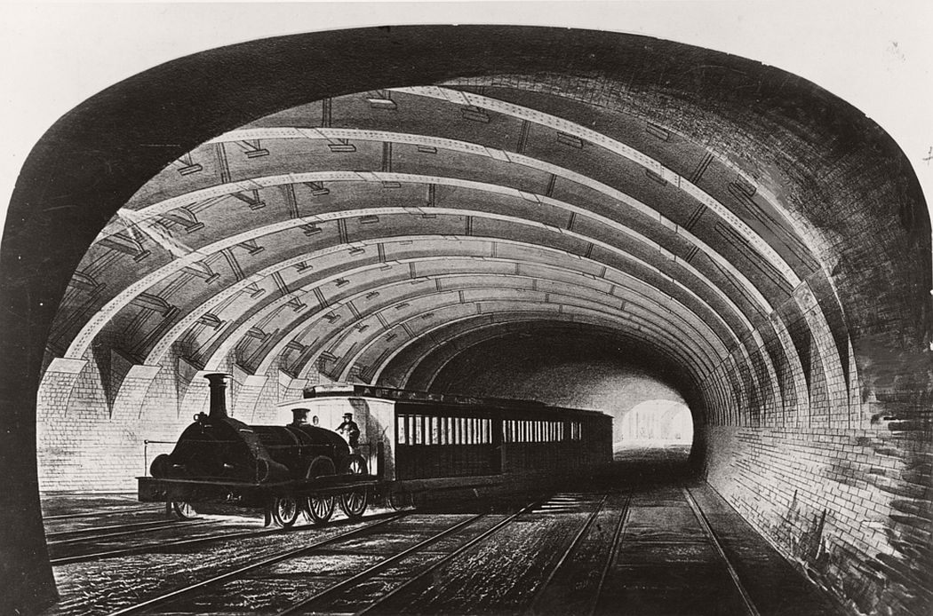The first Metropolitan train on the underground line passing through Praed Street, London, Ca. 1863.