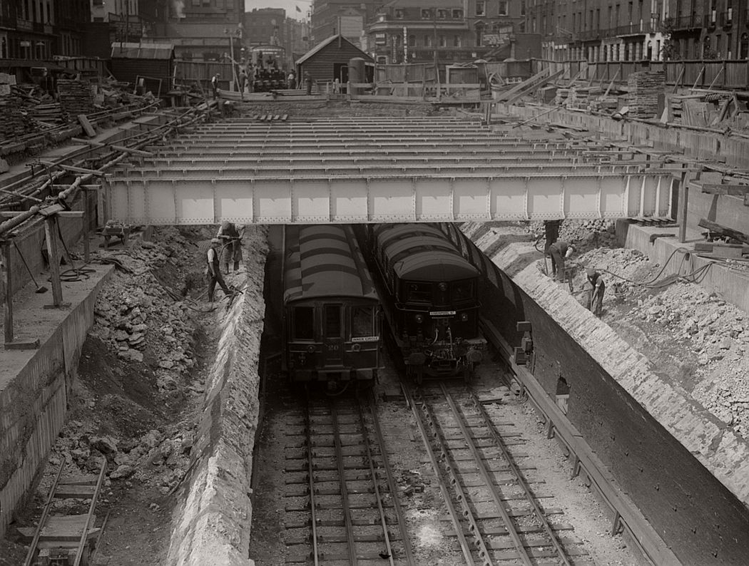 Platforms are lengthened at Euston Square underground station, 1930.