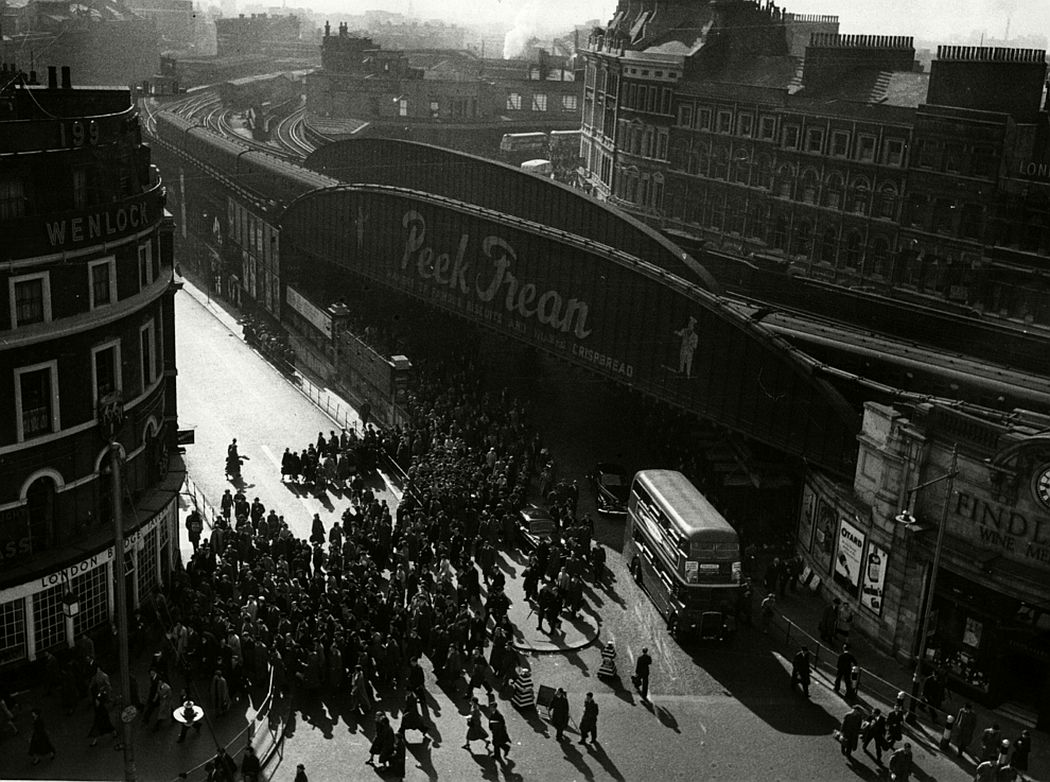 Rush hour, London Bridge, 1956.