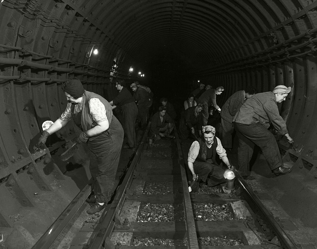 A group of women cleaning one of London's underground tunnels, 1952.